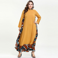 Muslim Middle East Arabic Dress Long Sleeve Loose Print Patch Falbala Ruffle Hem Maxi Dresses Vestidos Plus Size M 4XL Yellow