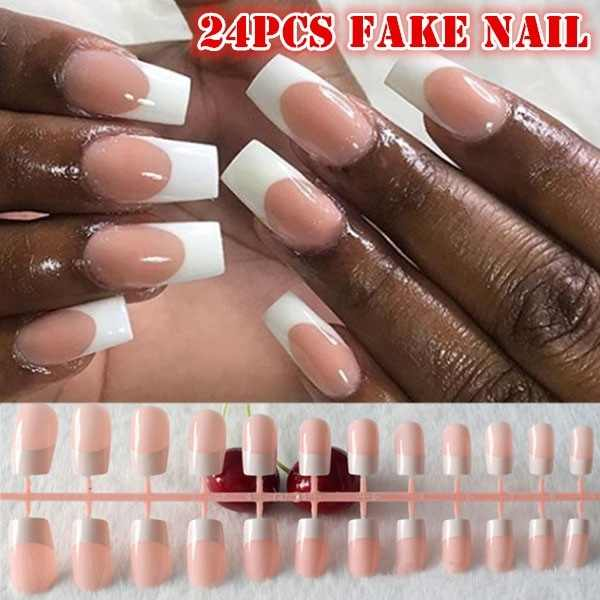 24 Pcs/Set French Long False Nails Wedding Party Ladies Fake Full Nail Tips Mixed Size Without Glue