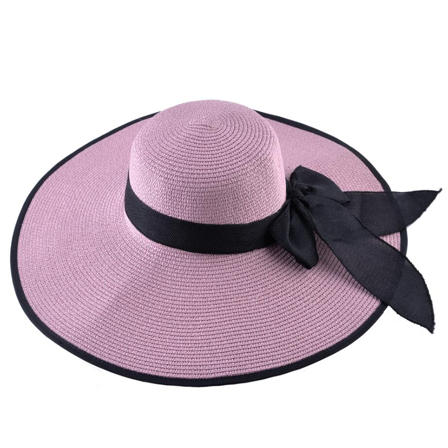 aeadd7760 US $8.99 40% OFF|Fashion Straw Hat For Women Summer Casual Wide Brim Sun  Cap With Bow knot Ladies Vacation Beach Hats Big Visor Floppy Chapeau-in ...