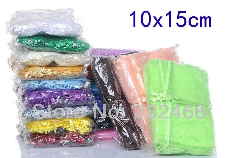 Size 10x15cm Wholesale Organza Bags 10x15cm Drawable Wedding Gift Bags Pouches 300pcs lot