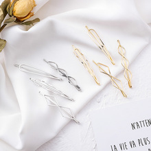 4pcs/set Korea Vintage Geometric Wave Triangle Metal Gold Color Hairpins For Women Fashion Hair Jewelry Hairgrips Hairclips Gift