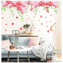 Pink Flowers Butteries Wall Sticker For Living Room Home Decoration Background Pvc Plane Plant Mural Door Diy Wallpaper Rushed(China)