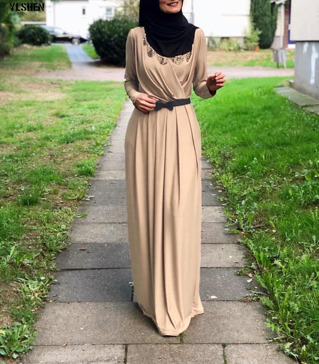 2019 Muslim Ramadan Dress Abaya Dubai Long Sleeve Pleated Maxi Dresses Kaftan Robe Islamic Dress Jubah Middle East Eid Islamic