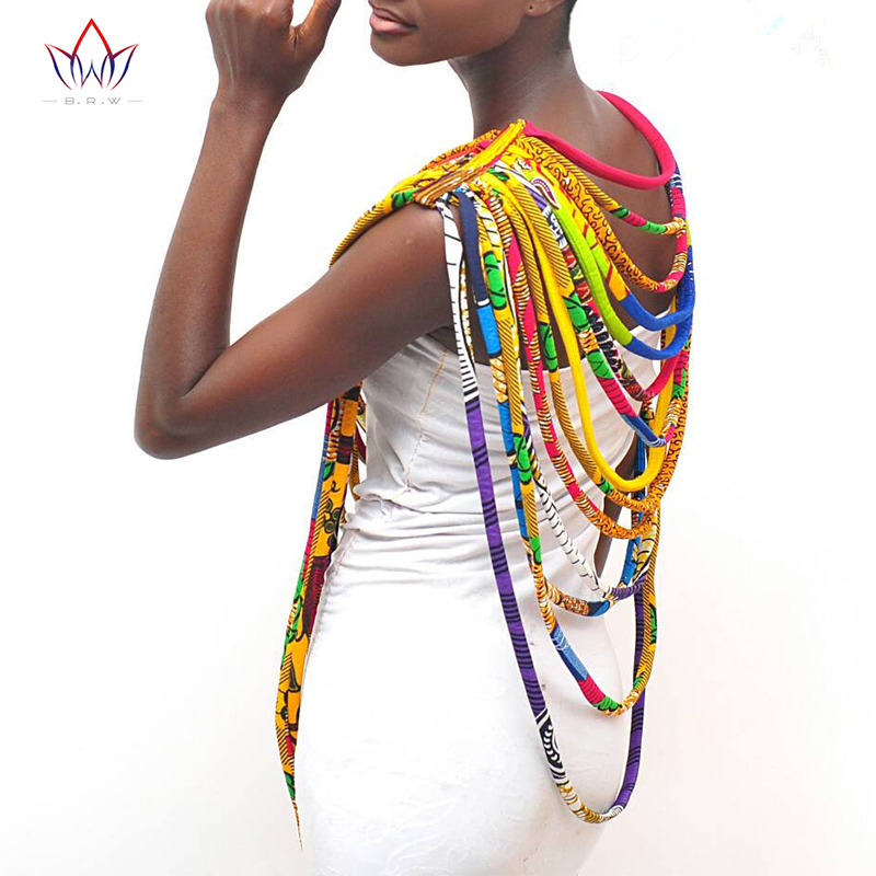 BRW 2019 African Ankara Necklaces Wax Print Fabric Colorful Necklace Shawl African Ankara Handmade Necklace Tribal Jewelry WYX06