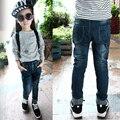 2016 осень Девушки джинсы стрейч джинсовые брюки детей брюки сплошной цвет случайные джинсы