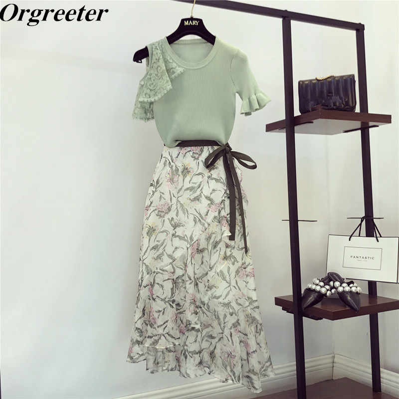 Women Girls Lace sleeve Knitted Flare sleeve Tops Green Floral Patterns Print Ruffles Asymmetric Bodycon Long Skirt 2 piece set