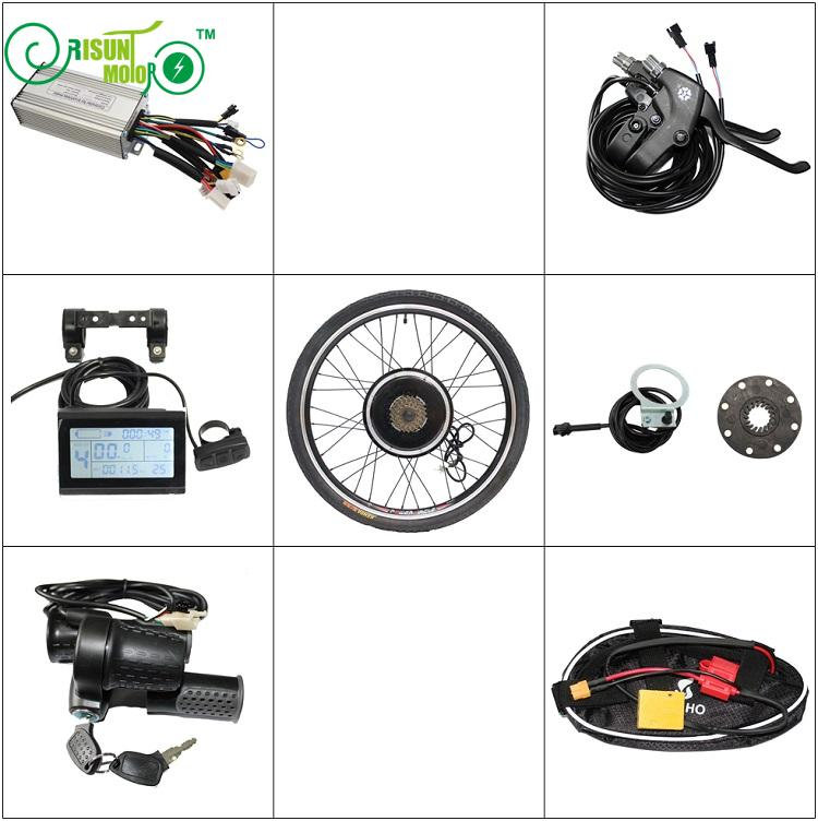 RisunMotor Ebike kit 36V 48V 500W Rear Motorized Wheel Free 7 Speed Gear With Controller LCD Throttles, PAS For Electric Bicycle abs wheel speed sensor rear left rl fit for mercedes benzs 2205400417 dz0604417