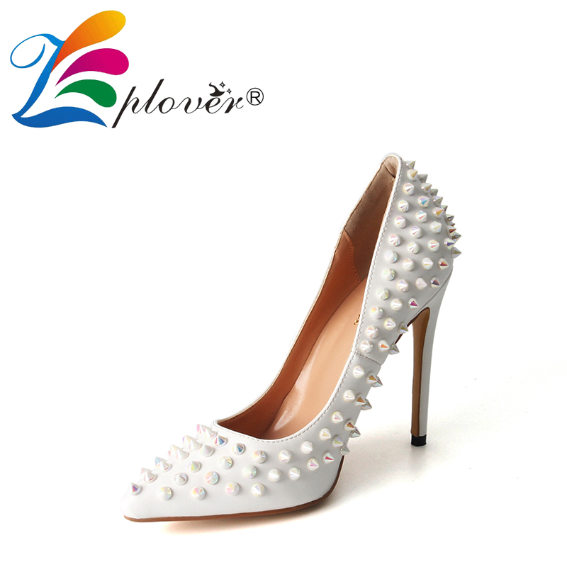 Zplover Sexy White High Heels Shoes Woman Rivet Pointed Toe Thin Heels Pumps High Quality Fashion High Heels Women Wedding Shoes slip on high quality women pumps sexy thin high heels colorful rivet shoes female fashion pumps pointed toe wedding party shoes