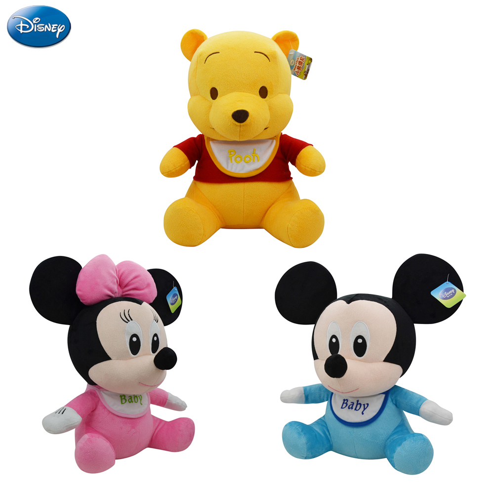 Disney Original Winnie The Pooh Mickey Mouse And Minnie Lilo Baby Plush Stuffed Toys 21cm Cute Doll Toys Christmas Gifts For Kid