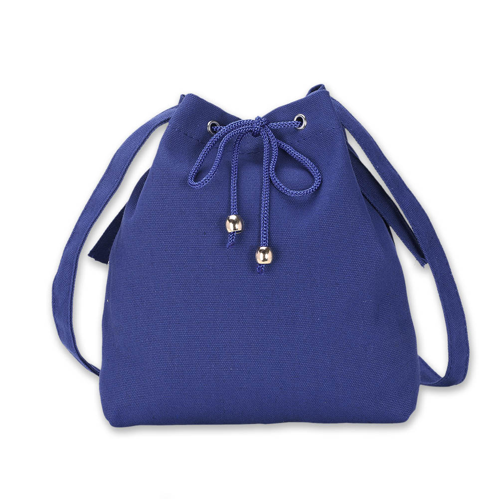 Bucket Bag Canvas Drawstring Solid Color Ladies Girls Vintage Crossbody Messenger Shoulder Bags Pop