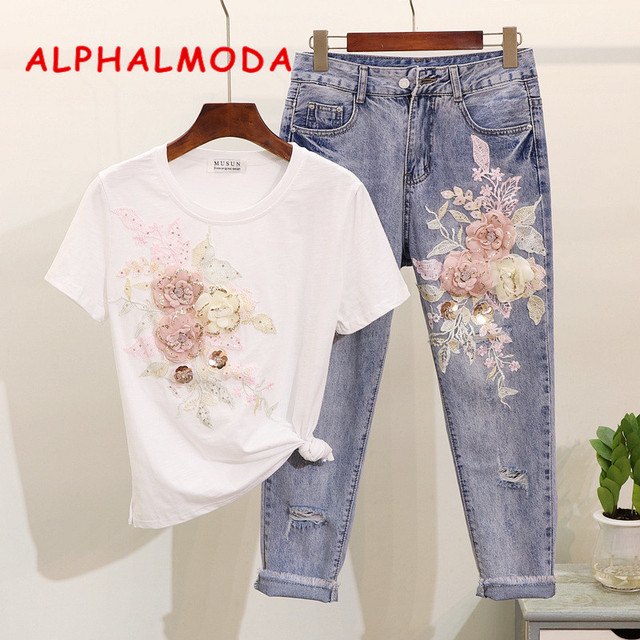 ALPHALMODA European Station Embroider 3D Flowers Sequined Tshirts Ripped Jeans Women Summer Trendy Clothing Selling Separately