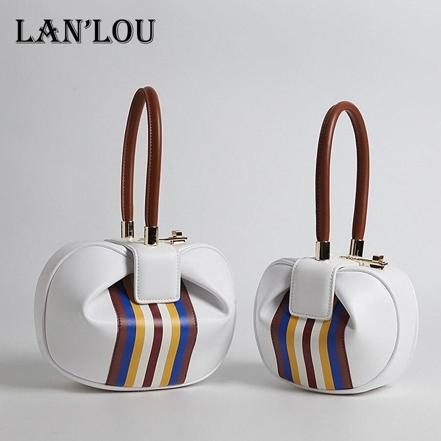 LANLOU women bag Genuine Leather Handbag Bags for women 2018 Shoulder bag Famous Luxury Brand fashion