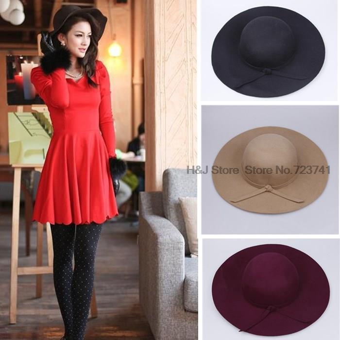 2015 Fashion 6 Color Vintage Autumn Hat 100% Wool Women s Cute Lady Hat  Large-brimmed Panama Hat Felt Hat Terai Ceremony Hat 563316401f9