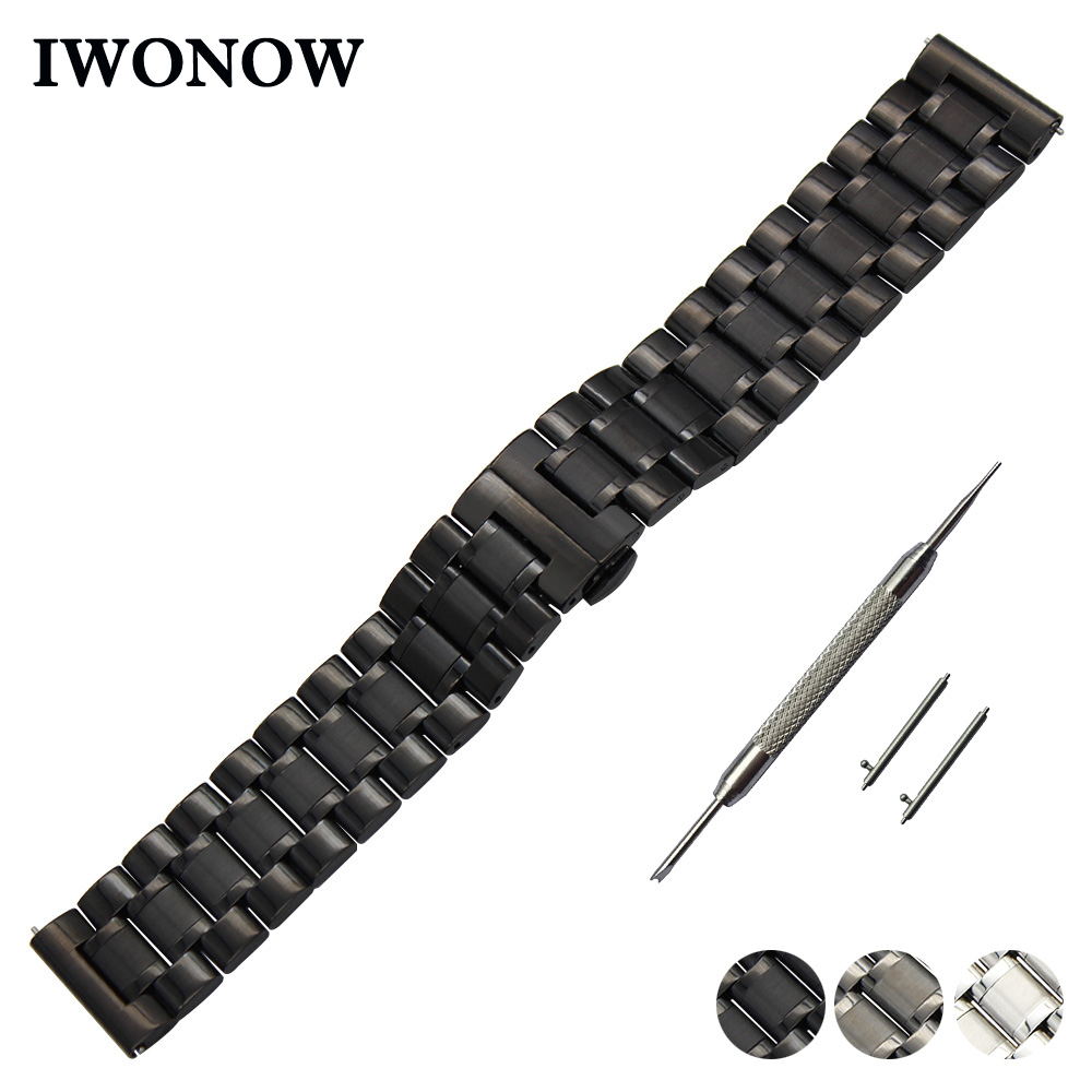 Stainless Steel Watch Band 22mm for Samsung Gear S3 Classic / Frontier Quick Release Strap Butterfly Buckle Wrist Belt Bracelet цена