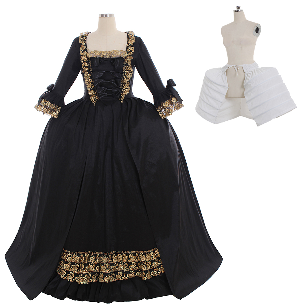 Cosplaydiy Marie Antoinette Baroque Ball Gown Dress 18th Century Colonial Black Rococo Belle Dress Custom Made Any Size L320