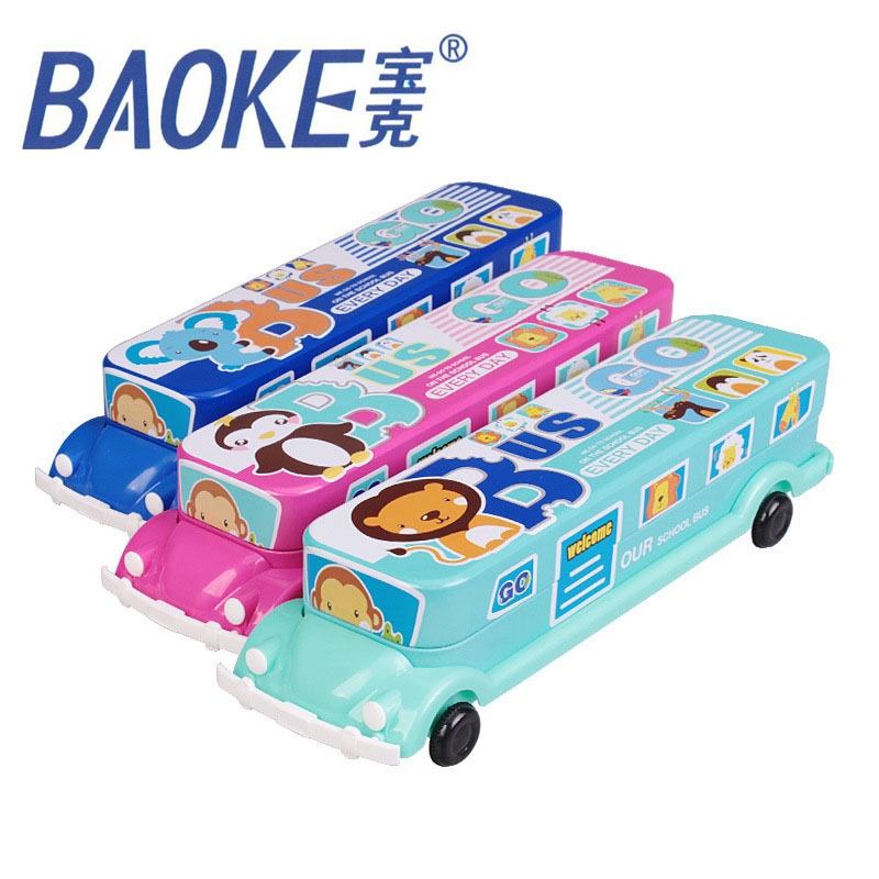 Student Large Capacity Two Layers Cartoon Little Bus Pencil Case Iron Box Tin Pen Bags Multifunction School supplies Stationery free shipping big feet eva pencil case multifunctional pen curtain pencil box elementary student school stationery supplies