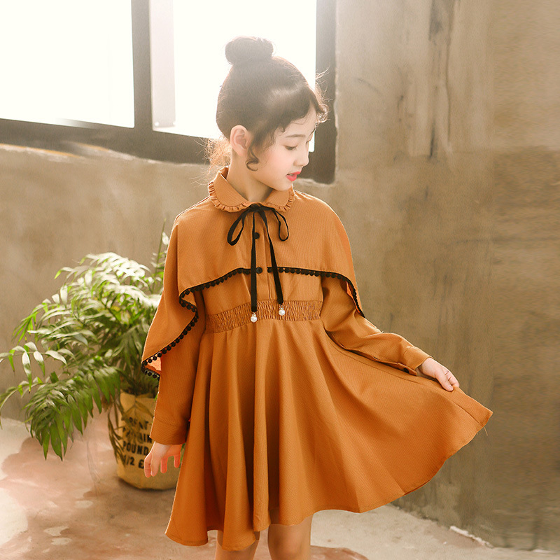 Girls Dress Fall 2018 New Korean Children's Long-sleeved Bow Bat Lotus Leaf Autumn Teenage Girl Dresses 110-160cm
