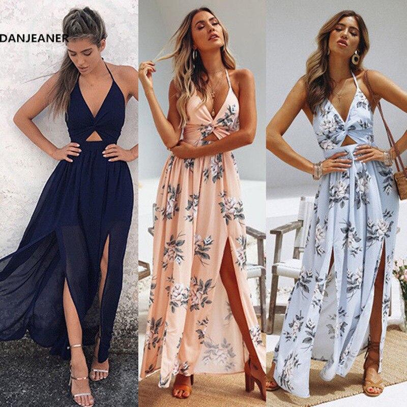 DANJEANE Womens Summer Boho Maxi Long Dress Beach Dresses Sexy V Neck Off Shoulder Floral Halter Dress Backless Bow Vestidos