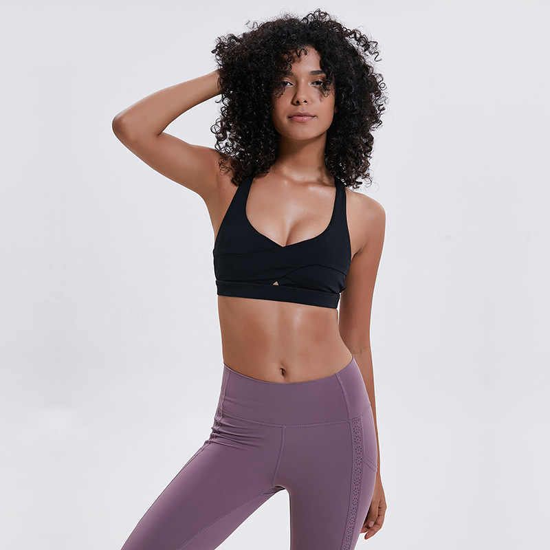 e4b59ce2db ... Wireless Push Up Yoga Sport Bra Top Female Cute Cross Back Strappy  Sports Bra Shockproof Running