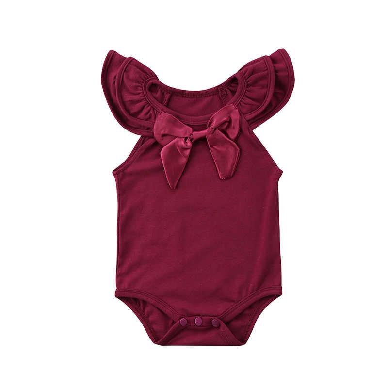 Однотонный однотонный наряд с комбинезоном без рукавов для новорожденных девочек