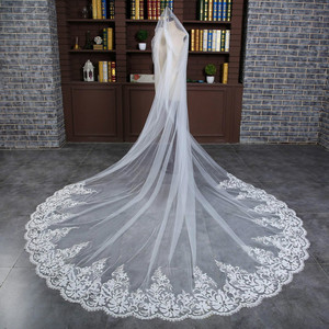 Image 4 - 3 M Wedding Veil Cathedral One Layer Lace Appliqued Long Bridal Veils With Comb Woman Marry Gifts 2018 New hot Accessories
