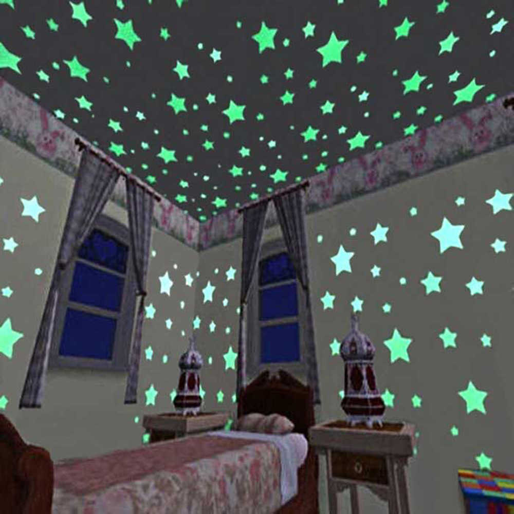 50/100 ПК 3D звезды светится в темноте светящаяся на настенные наклейки для детской комнаты гостиной настенные наклейка для спальни дома украшения плакат