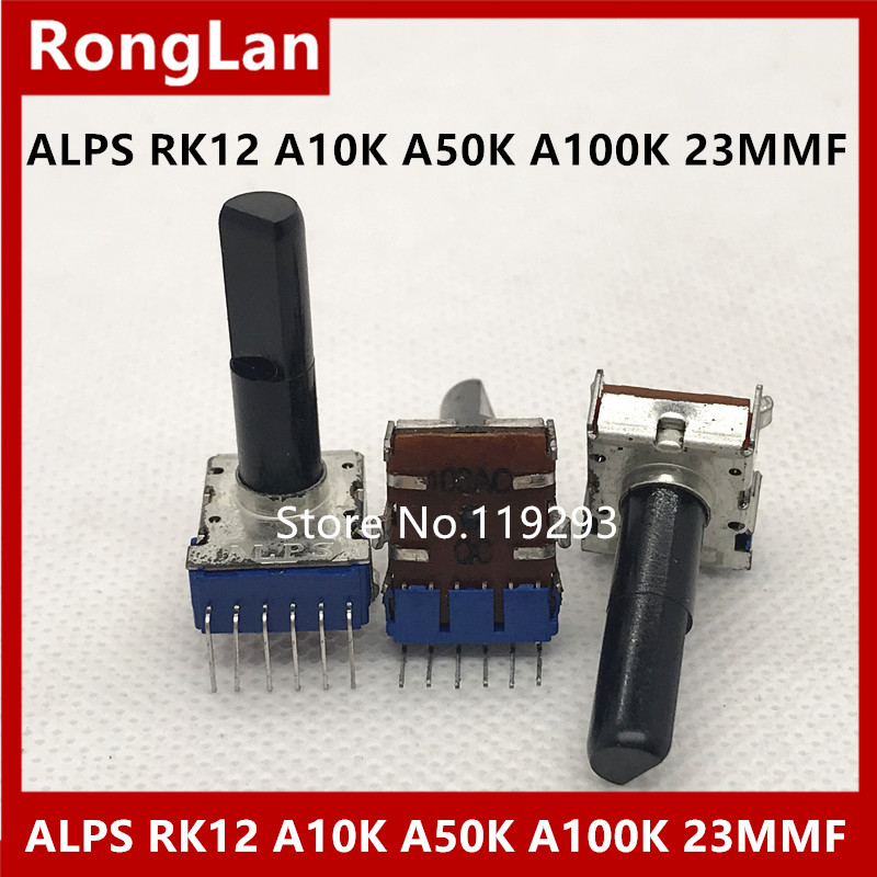 ALPS A100k-Axis Potentiometer A10k Midpoint-Of-The-Shaft-Length A50K Japan RK12
