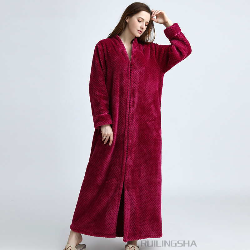 Women Plus Size Winter Thermal Long Bathrobe Thick Flannel Warm Kimono Bath  Robe Lovers Dressing Gown Pregnant Bridesmaid Robes-in Robes from Underwear  ... 32a942046