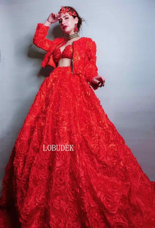 (Куртка + бюстгальтер + юбка) Женский комплект с красными цветами и кристаллами, танцевальный наряд, сексуальный комплект из 3 предметов, праздничные платья для дня рождения, танцевальный костюм певицы