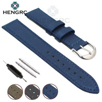 HENGRC Nato Strap Canvas Nylon Genuine Leather Watch Band 18 20 22 24mm Men Black Blue