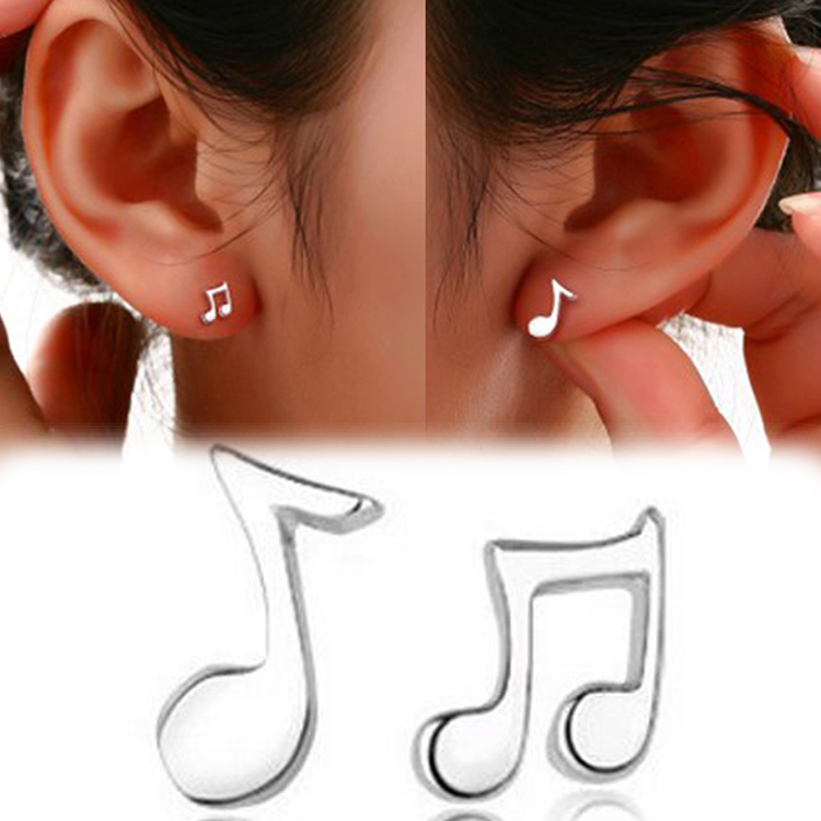 Aliexpress New Fashion Cute Lovely Musical Note Silver Plated Stud Earrings Jewelry For Women S From Reliable Colorful Earings Suppliers