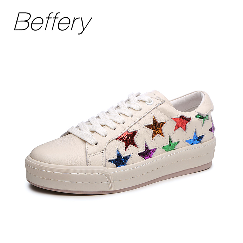 Beffery 2018 New Fashion Sneakers Women Genuine Leather Lace-up Flat Platform Shoes For Women Fashion star Casual Shoes A1MD701 beffery spring summer genuine leather casual sneakers women flat breathable shoes fashion lace up shoes women platform shoes
