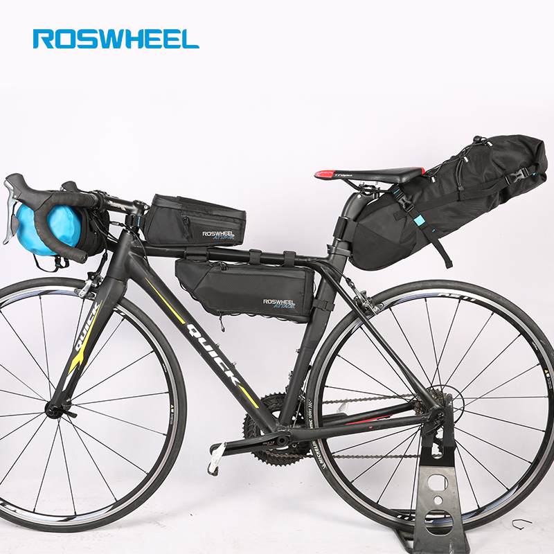 ROSWHEEL Bicycle bags Bike head front tube bag Full waterproof nylon Tail saddle bags Bicycle panniers ATTACK SERIES d28 600d nylon waterproof bicycle saddle bag black