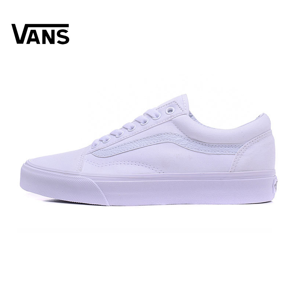 White Vans Old Skool Sneakers Low-top Unisex Men Women Sports Skateboarding Shoes Breathable Classic Canvas Vans Shoes