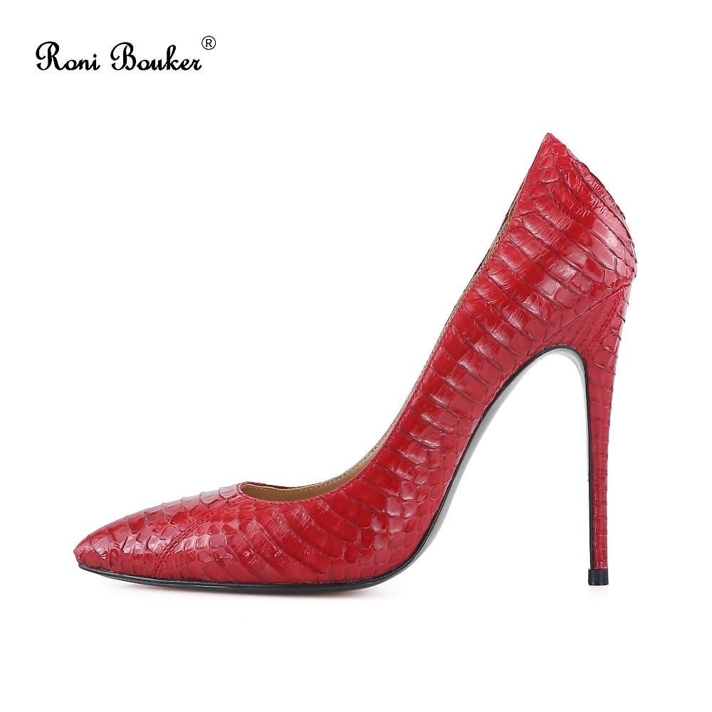 Roni Bouker Shoes Genuine Snakeskin Women Pumps Fashion Office Heels Woman Stilettos Pointed Toe Female Wedding Party Big Size42