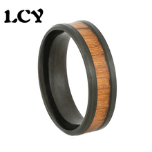 8 MM Stainless Steel 316L Men Ring Inlaid KOA Wood Retro Vintage Black Plated Fashion Jewelry Love Rings Size 6 7 8 9 10 11 12