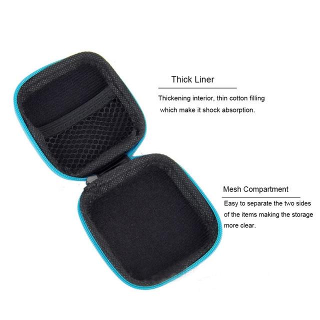 Storage Bag Protective USB Cable Organizer, Portable Earbuds Pouch box  Mini Zipper Hard Headphone Case PU Leather Earphone