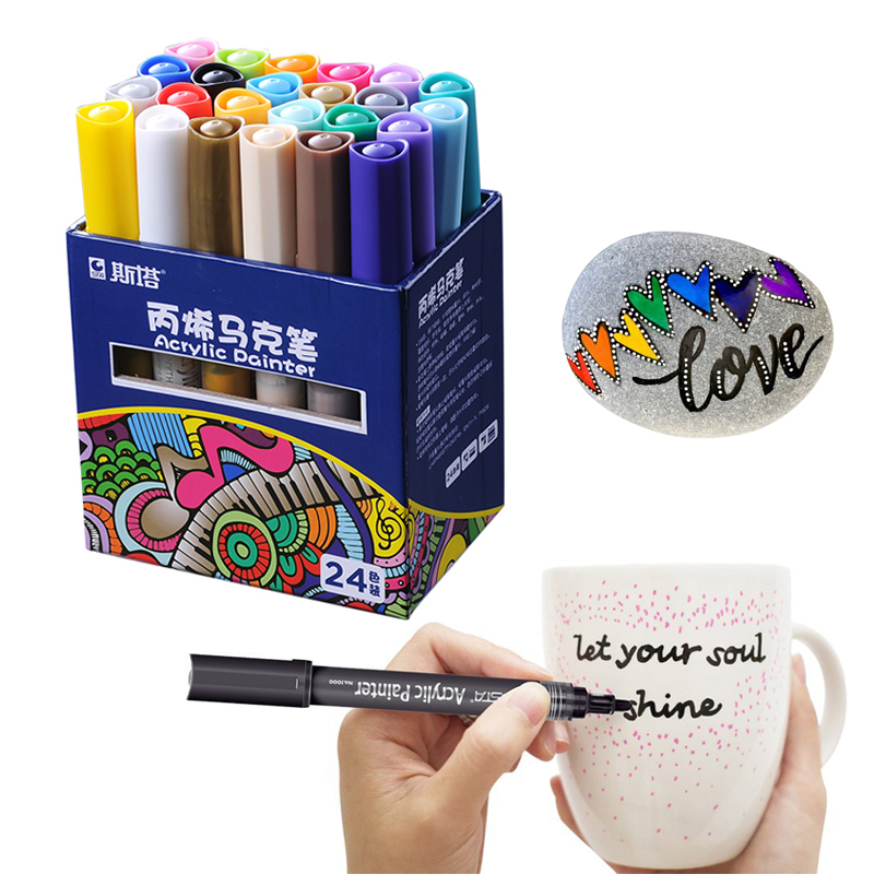 STA 24 Colors Acrylic Paint Marker Pen Marker Sketch Stationery Painting Crafting Graffiti Glass Ceramic Art Painting Drawing