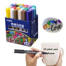 STA 24 צבעים אקריליק צבע מרקר עט סמן כתיבה סקיצה ציור Crafting גרפיטי זכוכית קרמיקה אמנות ציור ציור
