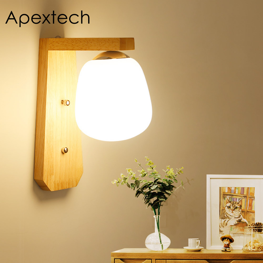 Apextech Bedside LED Light 7W Wooden Wall Lamp Moderen Chinese Style ...