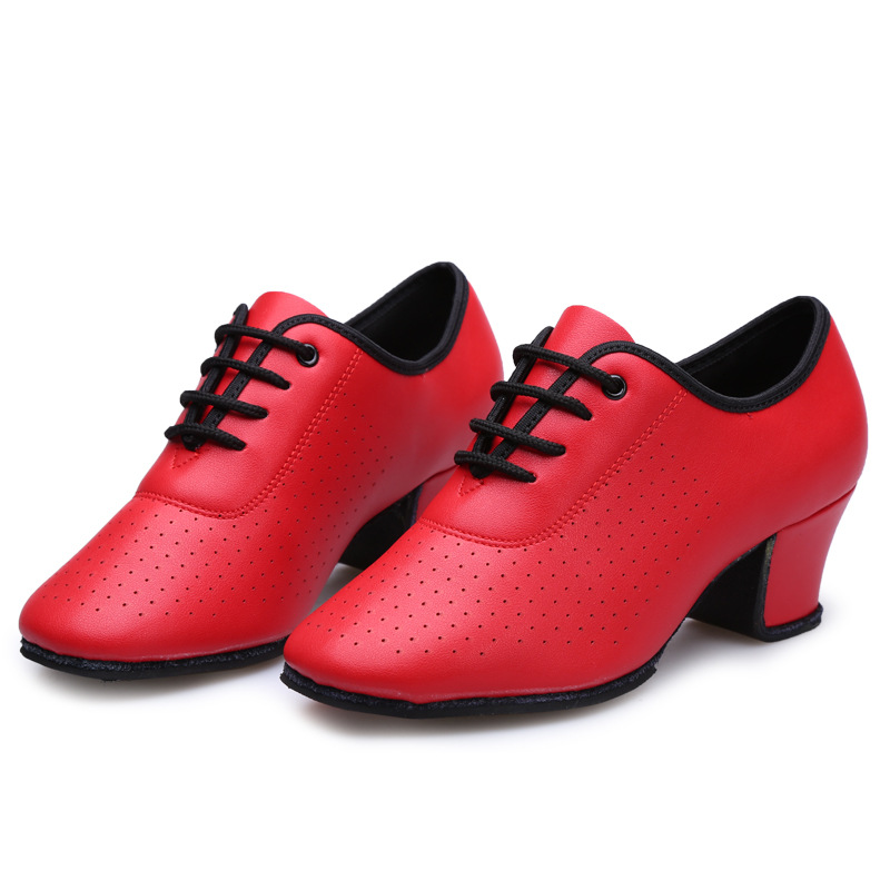 2017 Hot Sale Womens Girls Adult Latin/Ballroom/Tango Dance Shoes Dance Sneakers Genuine Leather Practice Shoes Black Red