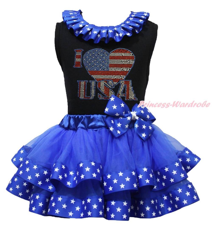 ФОТО I LOVE USA Black Top 4th July Blue Patriotic Star Satin Trim Skirt Girl NB-8Year MAPSA0780