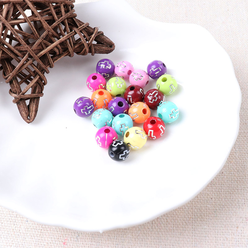 Acrylic Cross pattern colourful Loose Beads Circular Mixed For Jewelry making DIY 100pcs 8mm Dia A2X