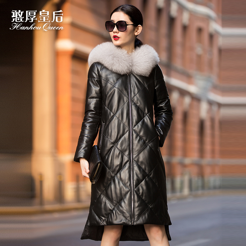 Leather Jacket Female Long 2016 New Fox Fur Hoodie Sheepskin Leather Coat Winter Jacket Women Ladies Leather Jacket Real Fur