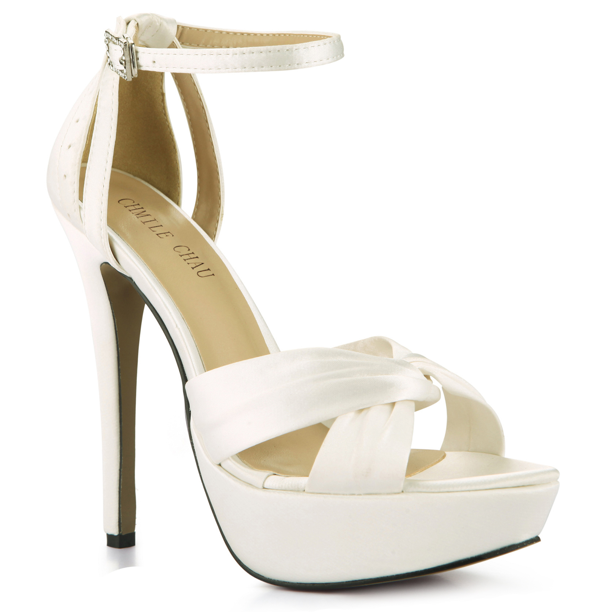 CHMILE CHAU Ivory Satin Elegant Wedding Party Women 39 s Shoes Open Toe Stiletto Heel Dating Platform Sandals with Buckle 3463SL b1 in High Heels from Shoes