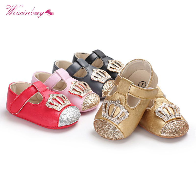 PU Baby Shoes Spring Autumn Newborn Baby Girl Princess Shoes PU Crown Sequins Fashion Princess Shoes First Walkers