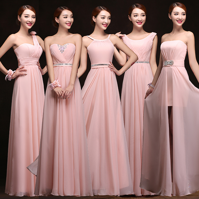 2017 5 Styles Chiffon Long Pink Blush Bridesmaid Dresses Maid Of Honor Dress For Wedding