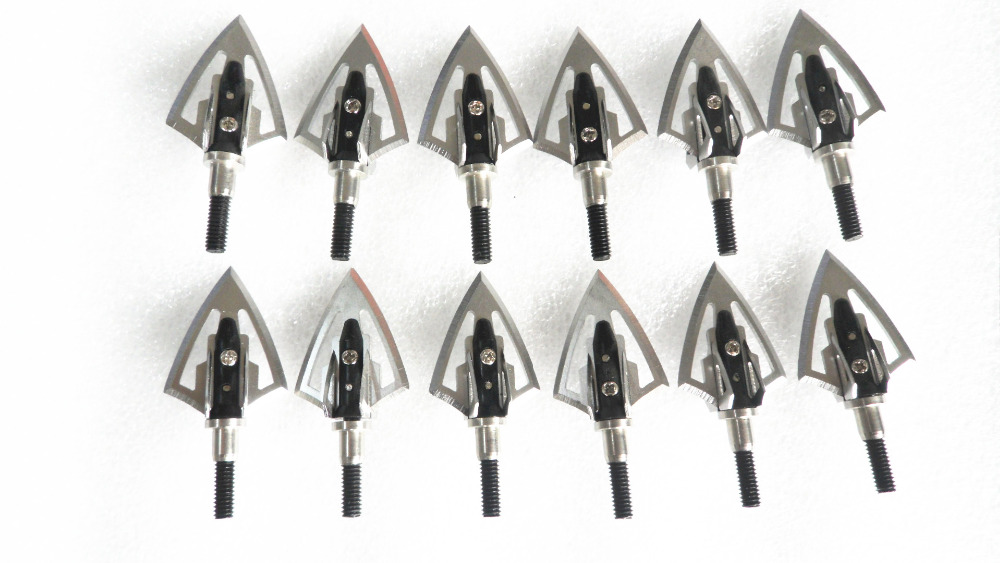 12PCs Black Fighter Broadhead 100 Grain 6 Blade Sharp for Archery - شکار