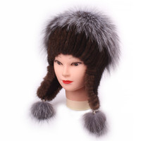 Korean Fashion Lovely Leather And Fur Weave Hats for women Colour Mink Hair Ma'am Fox Hair russian Winter hat Earmuffs