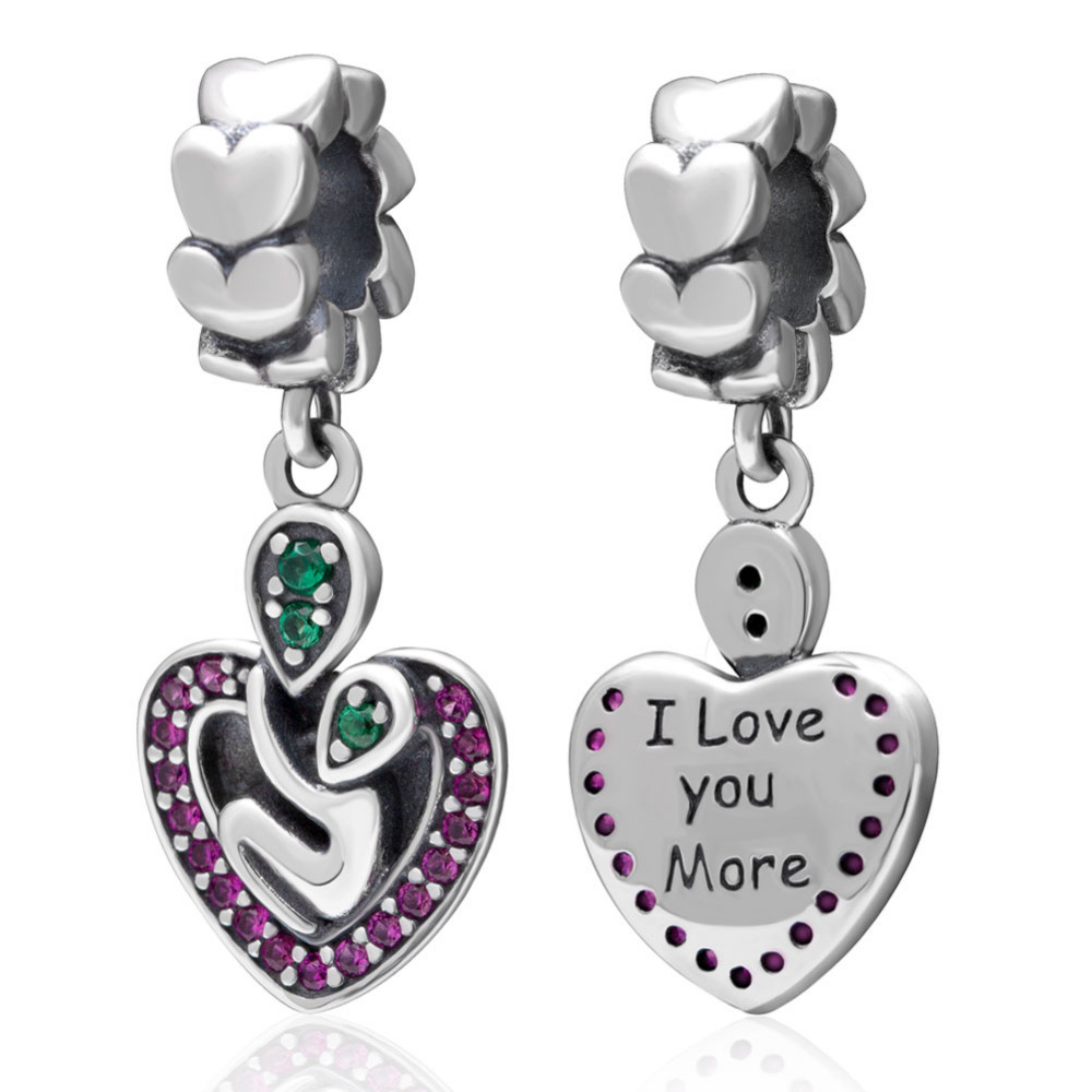 I Love You More Puple Cubic Zirconia Silver Pendant Beads Authentic 925 sterling silver Jewelry Fit Pandora Charms Bracelets
